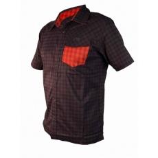 košile krátká pánská HAVEN Agness Slimfit černá/červená
